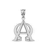 Solid White Gold Christian Alpha and Omega Jesus Christ Symbol Pendant Necklace