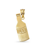Beer Lovers Beer Bottle Pendant Necklace in Solid Gold (Yellow/Rose/White)