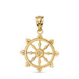 Buddhism Dharmachakra Dharma Wheel Pendant Necklace in Solid Gold (Yellow/Rose/White)