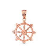 Solid Rose Gold Buddhism Dharmachakra Dharma Wheel Pendant Necklace
