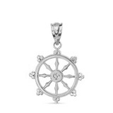 Solid White Gold Buddhism Dharmachakra Dharma Wheel Pendant Necklace