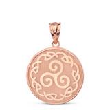 Solid Rose Gold Triskele Triple Spiral Celtic Disc Pendant Necklace