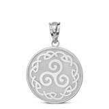 Solid White Gold Triskele Triple Spiral Celtic Disc Pendant Necklace