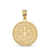 Ancient Christian Chi Rho Px Symbol Disc Pendant Necklace in Solid Gold (Yellow/Rose/White)
