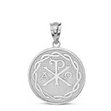 Solid White Gold Ancient Christian Chi Rho Px Symbol Disc Pendant Necklace