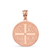 Solid Rose Gold Christian Symbol ΙϹ ΧϹ ΝΙΚΑ  Jesus Christ Conquers Pendant Necklace