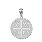 Solid White Gold Christian Symbol ΙϹ ΧϹ ΝΙΚΑ  Jesus Christ Conquers Pendant Necklace