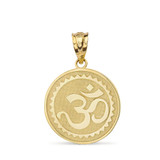 Hindu Spiritual Symbol Om Yoga Disc Pendant Necklace in Solid Gold (Yellow/Rose/White)