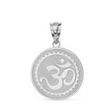 Sterling Silver Hindu Spiritual Symbol Om Yoga Disc Pendant Necklace