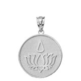 Solid White Gold Lotus Flower Blossom with Teardrop Disc Pendant Necklace