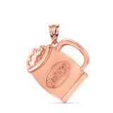 Solid Rose Gold Beer Mug Pendant Necklace