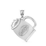 Sterling Silver Beer Mug Pendant Necklace