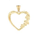Hawaiian Honu Turtles  Heart Pendant Necklace in Yellow Gold