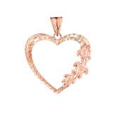 Hawaiian Honu Turtles  Heart Pendant Necklace in Rose Gold