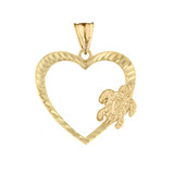 Honu Hawaiian Turtle  Heart Pendant Necklace in Yellow Gold