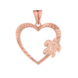 Honu Hawaiian Turtle  Heart Pendant Necklace in Rose Gold