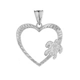 Honu Hawaiian Turtle  Heart Pendant Necklace in White Gold