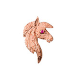 Exquisite Ruby Eyed Horse Pendant Necklace in Rose Gold