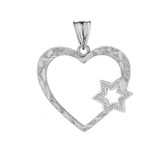 Star Of David Heart Pendant Necklace in White Gold