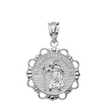Solid White Gold Round Saint Christopher Pendant Necklace