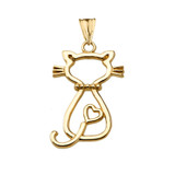 Openwork Backwards Cat Pendant Necklace in Yellow Gold