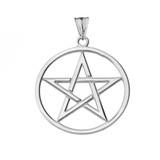 Pentagram Pendant Necklace in White Gold