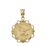 Round Saint Michael Pendant Necklace in Gold (Yellow/Rose/White)