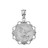 Solid White Gold Round Saint Michael Pendant Necklace