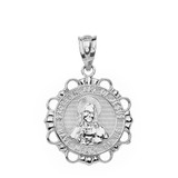 Sterling Silver Round Sacred Heart Pendant Necklace
