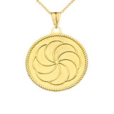 """Two-Sided """"Duxov""""and Armenian Eternity Symbol Pendant Necklace in Yellow Gold"""