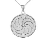 """Two-Sided """"Duxov""""and Armenian Eternity Symbol Pendant Necklace in White Gold"""