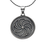 """Oxidized Two-Sided """"Duxov""""and Armenian Eternity Symbol Pendant Necklace in Sterling Silver"""