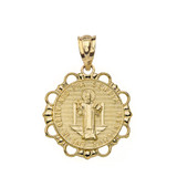 Round Saint Benito Pendant Necklace in Gold (Yellow/Rose/White)