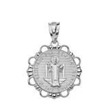 Solid White Gold Round Saint Benito Pendant Necklace