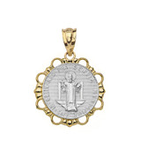 Solid Two Tone Yellow Gold Round Saint Benito Pendant Necklace