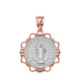 Solid Two Tone Rose Gold Round Saint Benito Pendant Necklace