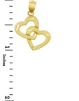 Gold Pendants - Two Gold Hearts Pendant