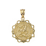 Round Saint George Pendant Necklace in Gold (Yellow/Rose/White)