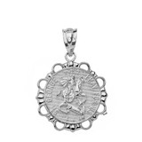 Solid White Gold Round Saint George Pendant Necklace