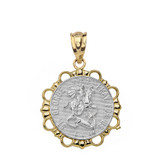 Solid Two Tone Yellow Gold Round Saint George Pendant Necklace