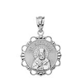 Solid White Gold Round Saint Nectarios Pendant Necklace