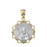 Solid Two Tone Yellow Gold Round Saint Nectarios Pendant Necklace
