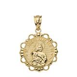 Round Saint Joseph Pendant Necklace in Gold (Yellow/Rose/White)
