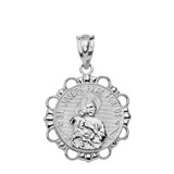 Solid White Gold Round Saint Joseph Pendant Necklace