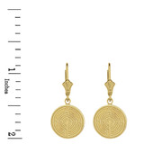Solid Yellow Gold Chartres Labyrinth Dainty Disc Earring Set