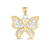 Filigree Butterfly Pendant Necklace in Two-Tone Yellow Gold
