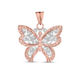 Filigree Butterfly Pendant Necklace in Two-Tone Rose Gold