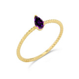 Dainty Genuine Amethyst Pear Shape Rope Ring in Yellow Gold