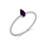 Dainty Genuine Amethyst Pear Shape Rope Ring in White Gold