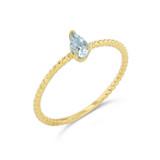 Dainty Genuine Aquamarine Pear Shape Rope Ring in Yellow Gold